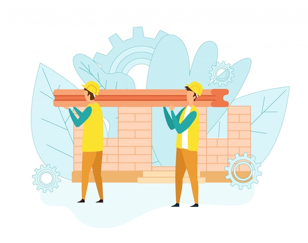 Builders carry heavy iron beam for building house Premium Vector