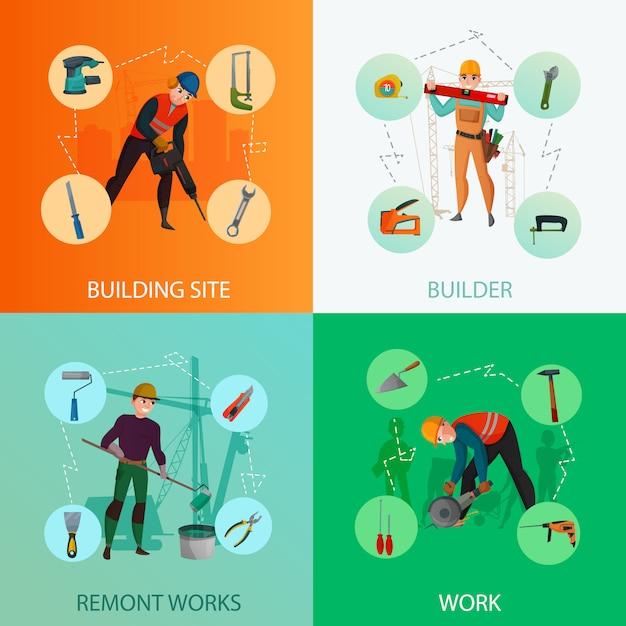 Builders composition set Free Vector