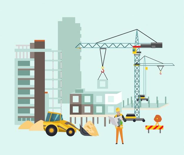 Builders on the construction site Premium Vector