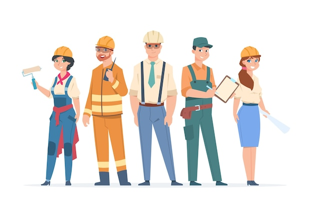 Builders and engineers characters illustration Premium Vector