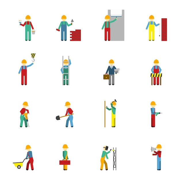 Builders flat icon set Free Vector