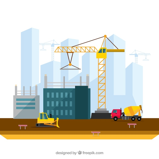 Building a city illustration in flat design vector free for Construct a house online