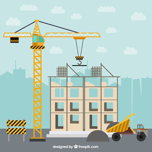 Building a house in flat design with construction elements for Build a house online free
