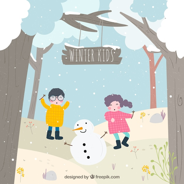 Building a snowman in the forest