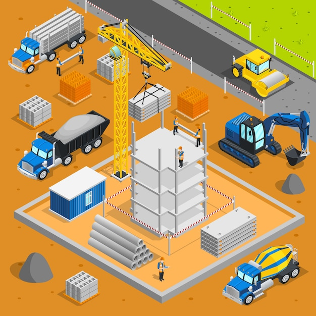 Building area isometric composition Free Vector