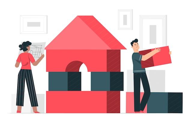 Building blocks concept illustration Free Vector