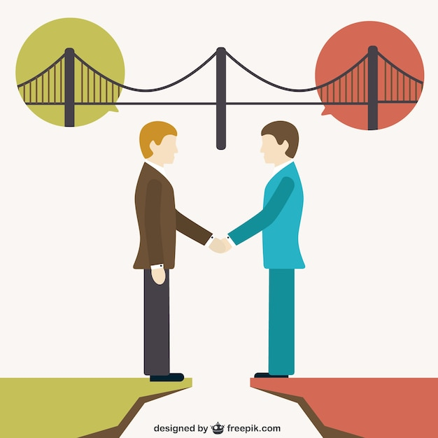 Building bridges between people Free Vector