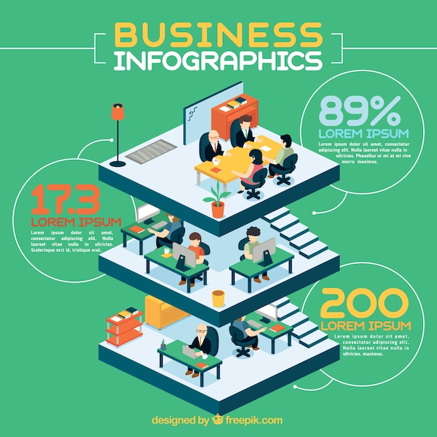 Building business infography Free Vector