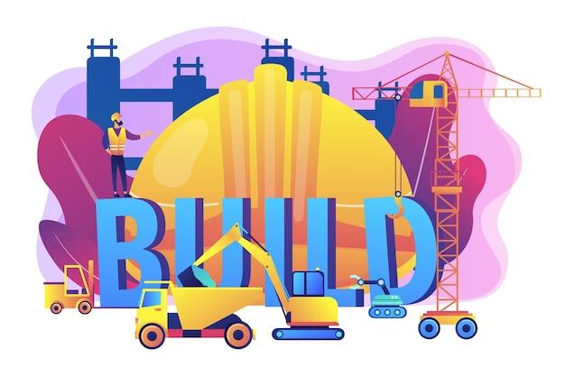 Costruire il trasporto aziendale. macchine edili moderne, attrezzature pesanti per la costruzione, attrezzature industriali e pesanti per il concetto di affitto. Vettore gratuito