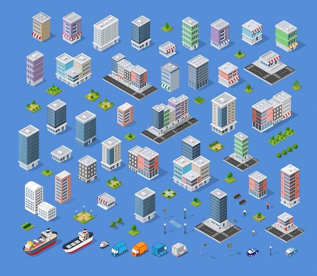 Building city map kit Premium Vector
