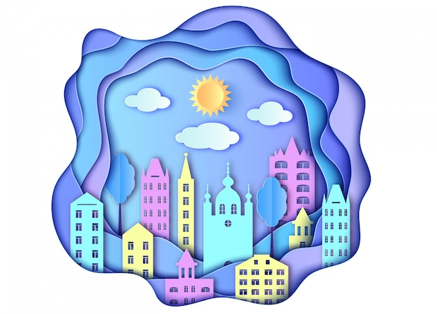 Building of city sun and clouds in paper art style Premium Vector