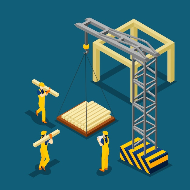 Building construction beginning isometric banner Free Vector
