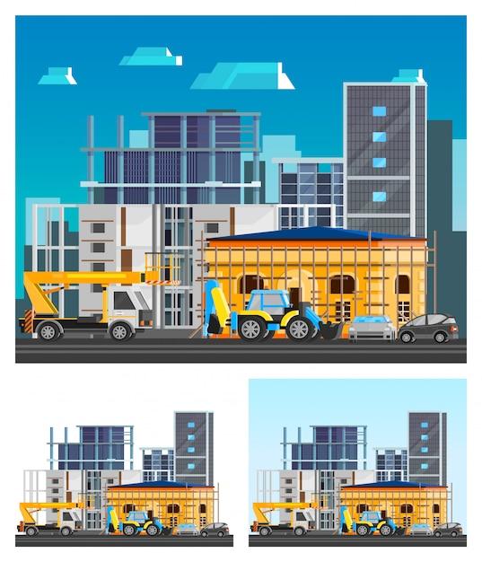 Building construction compositions set Free Vector
