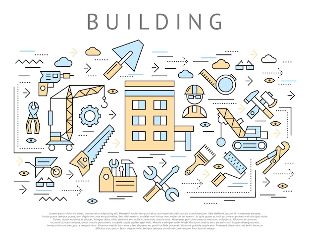 Building and construction concept Free Vector
