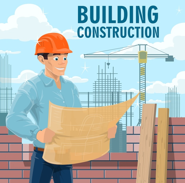 Building construction engineer, architect or contractor. engineer in safety helmet looking on blueprint, architect studying building drawings and construction company contractor reading plan Premium Vector