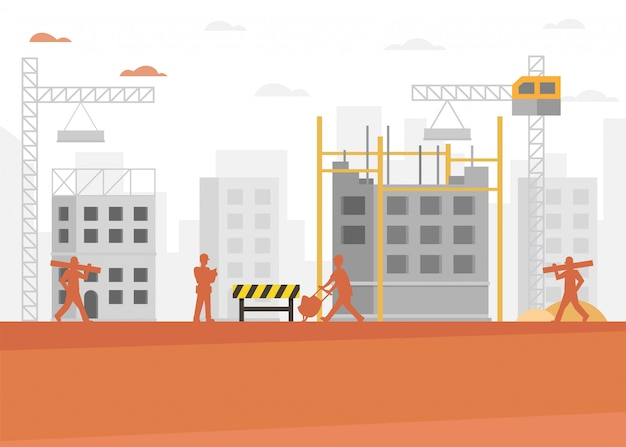 Building and construction industry cartoon background Premium Vector