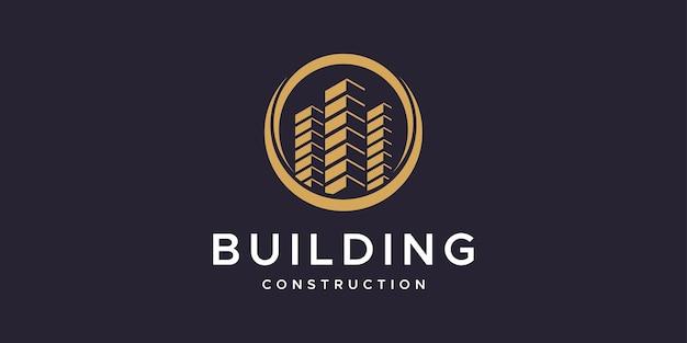 建物の建設ロゴデザインのインスピレーション Premiumベクター