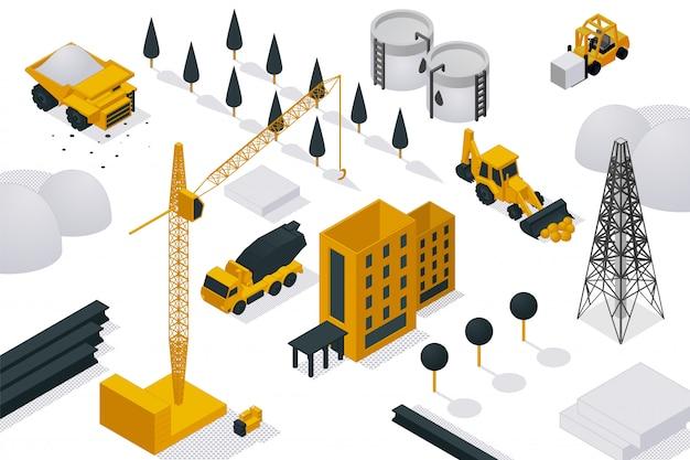 Building construction process,   illustration isometric. heavy equipment, crane and machine on construction site object. Premium Vector