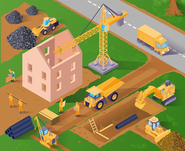 Building construction process Free Vector