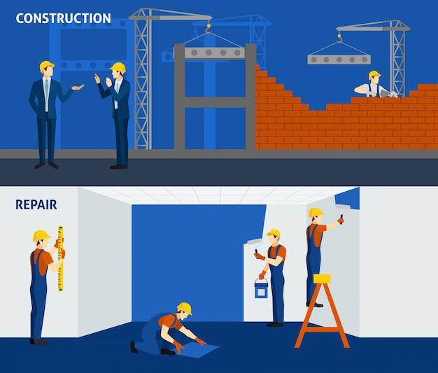 Building construction repair flat horizontal banners Free Vector