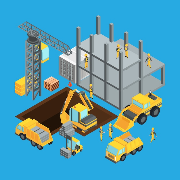 Building construction stage. isometric transport for construct. Premium Vector