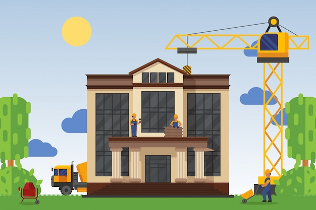 Building under construction with workers,  illustration. construction home public building, use special equipment. Premium Vector