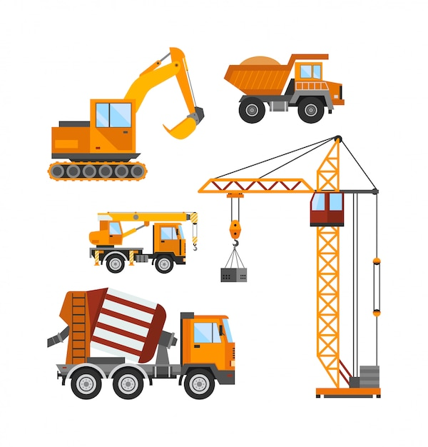 Building under construction, workers and construction technic vector illustration Premium Vector