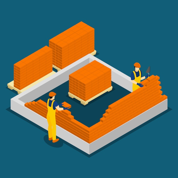 Building construction workers isometric banner Free Vector