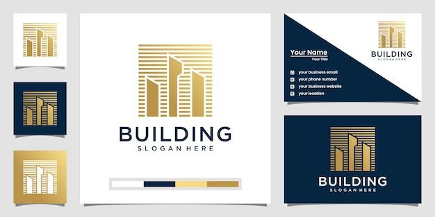 Building design logo and business card Premium Vector