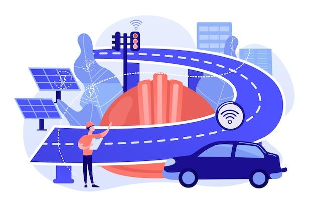 Ingegnere edile e smart road utilizzando sensori ed energia solare Vettore gratuito
