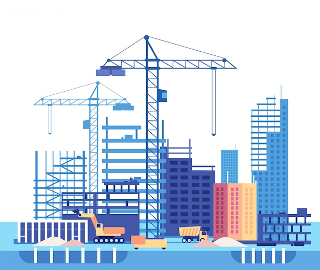 Building house. work process of buildings construction and machinery. Premium Vector
