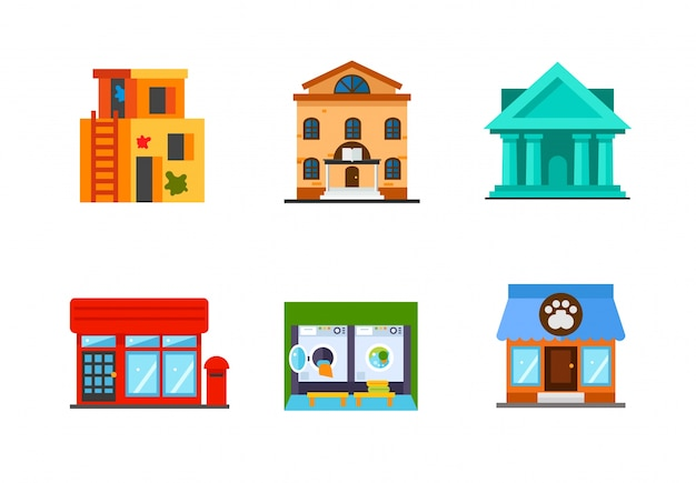 Building icon collection Free Vector
