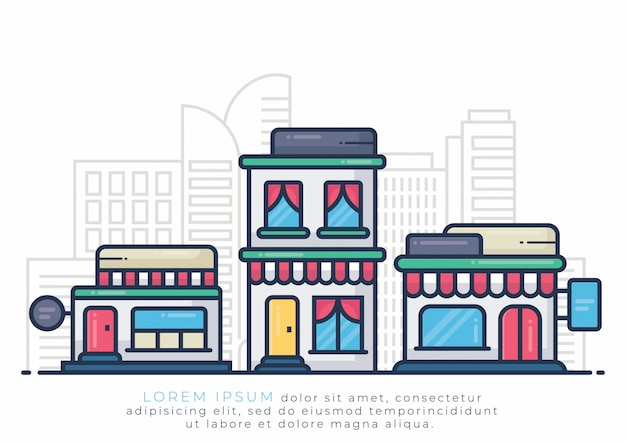 Building illustration for hotel and store Premium Vector