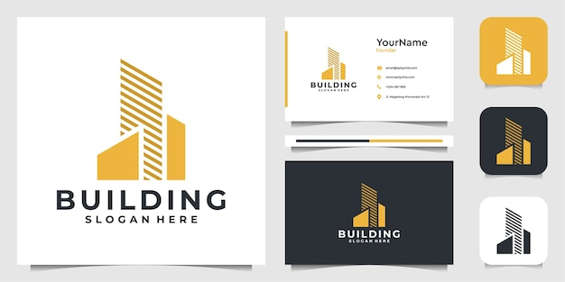 Building   illustration  logo design in modern style. logo and business card Premium Vector