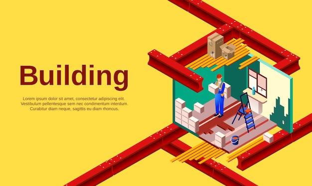 Строительная иллюстрация технологии строительства помещений и строительной работы в поперечном разрезе. Бесплатные векторы