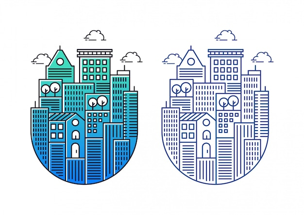 Building illustrations with circular shapes Premium Vector