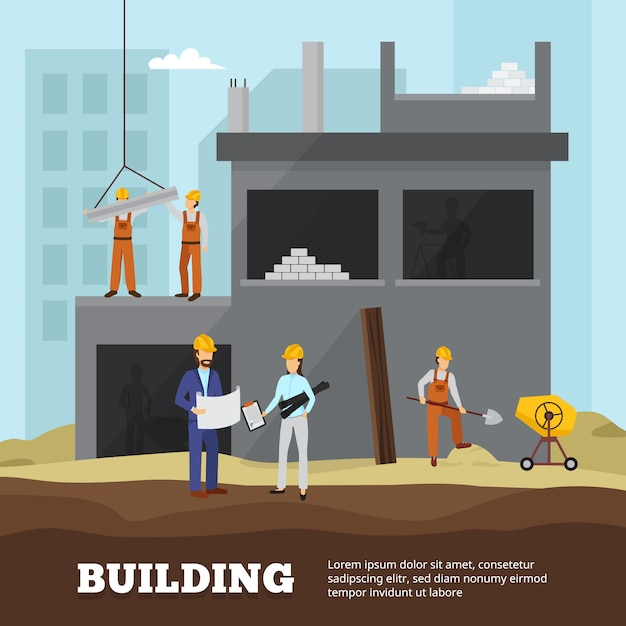 Building industry background with houses equipment city and workers flat illustration Free Vector