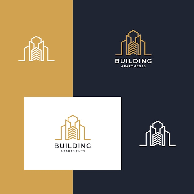 Building inspirational logo with lineal style Premium Vector