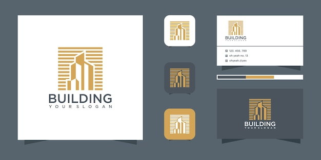 Building inspirational with line art style and gold color logo and business card Premium Vector