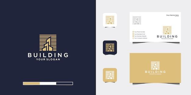 ラインアートスタイルのロゴと名刺でインスピレーションを与える建物 Premiumベクター