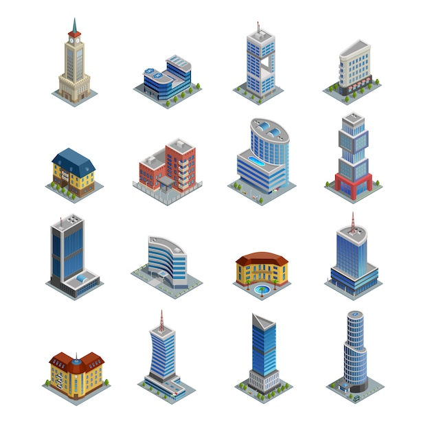 Building isometric icons set Free Vector