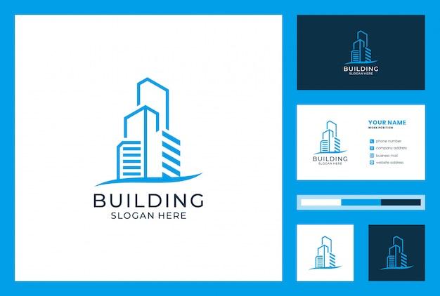 Создание логотипа и дизайн визитной карточки. логотипы могут быть использованы для архитектуры, недвижимости, инвестиций, посадки, пансионата, отеля, виллы. Premium векторы