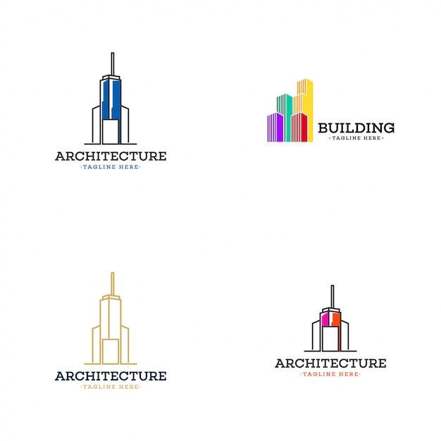 Building logo collection Premium Vector