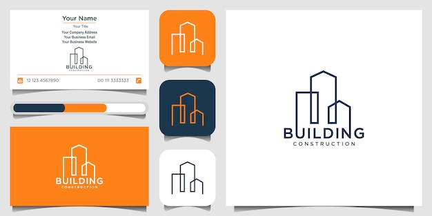 Building Logo Design With Line Concept City Building Abstract For Logo Design Inspiration Logo Design And Business Card Premium Vector