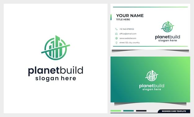 Создание дизайна логотипа с концепцией космического пространства планеты и шаблоном визитной карточки Premium векторы