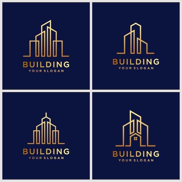 Building logo designs. construction logo design with line art style. Premium Vector