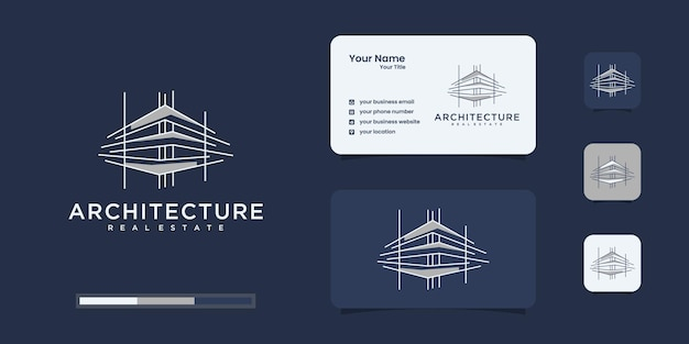 Building logo with unique line art style and business card Premium Vector