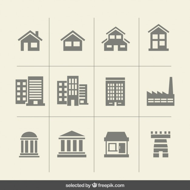 Building monochrome icons Free Vector