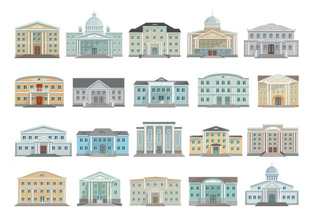 政府漫画の建物のアイコンを設定します。孤立した漫画は、アイコンのアーキテクチャを設定します。白い背景の上の政府のイラストの建物。 Premiumベクター