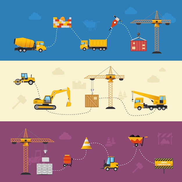 Building process banners Free Vector